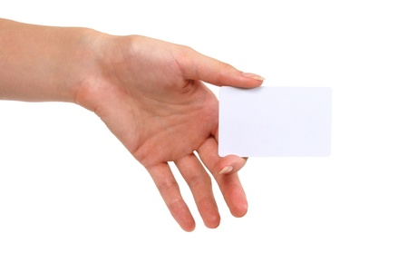 businesscard: blank businesscard in womans hand  Stock Photo