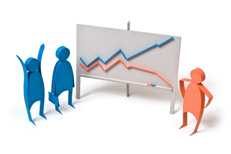 bull market: Business graph and emotions Stock Photo
