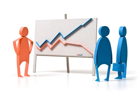 winning stock: Business graph and emotions Stock Photo