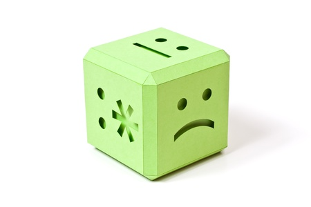 Human emotions on sides of a playing cube Stock Photo - 12569266