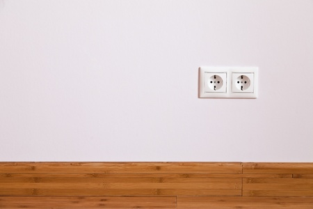 Interior wall with domestic power outlet photo