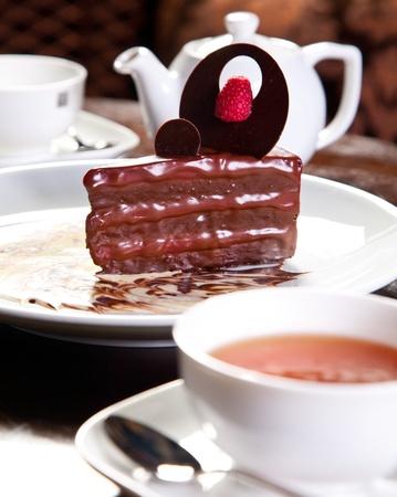 molted: Chocolate dessert, close-up photo