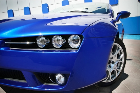 exotic car: Blue sport car Stock Photo