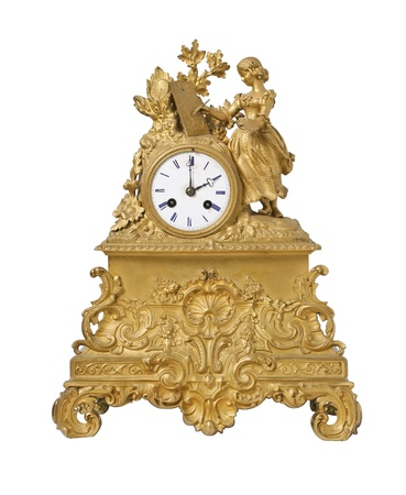 Vintage antique golden clock, isolated on white photo