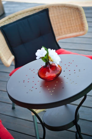 oudoor: Summer terrace, close up photo