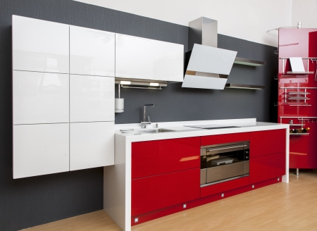 idea comfortable: Modern kitchen interior with red decoration  Stock Photo