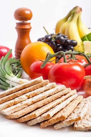 quark: Crispbread with fresh fruits and vegetables Stock Photo