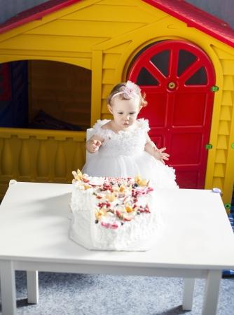 Little girl celebrating first birthday photo
