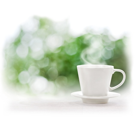 herb tea: Cup of hot drink on defocus summer background