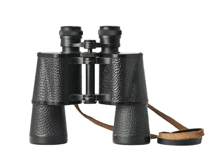 strap: Black old military binoculars isolated on white