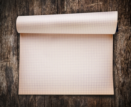 Opened blank notebook on old wood background Stock Photo - 15056993