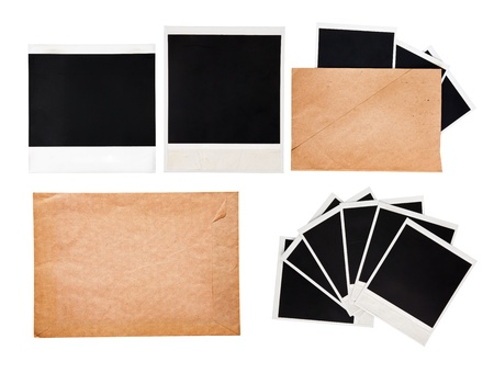 confines: Old envelope with instant photos, set Stock Photo