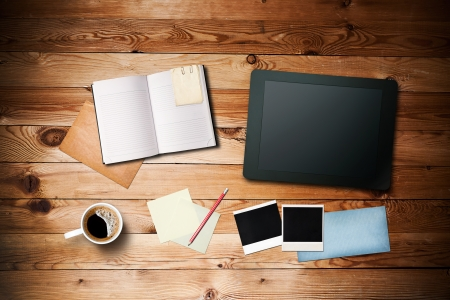 Workspace with coffee cup