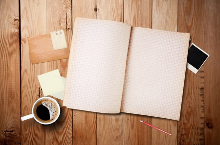 Werkruimte met kopje koffie