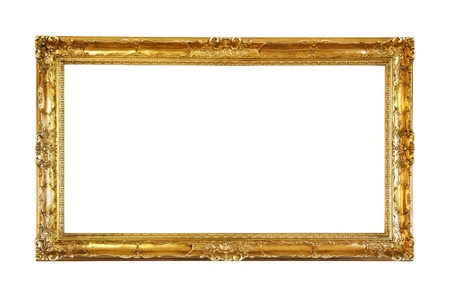 rectangle frame: Retro old gold frame, isolated  Stock Photo