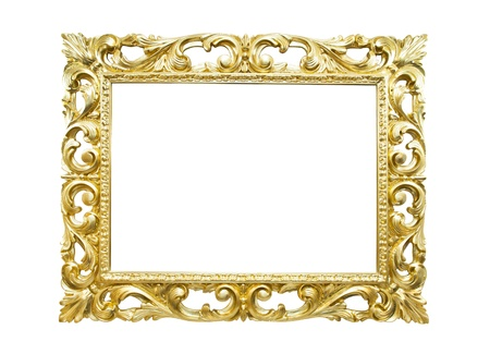 wood carving: Retro old gold frame, isolated  Stock Photo