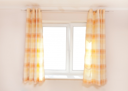 window curtains:  Kitchen curtain with a copy-space in the middle