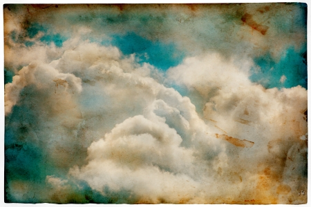 skyscape: Grunge old paper with cloudy sky, retro style background Stock Photo