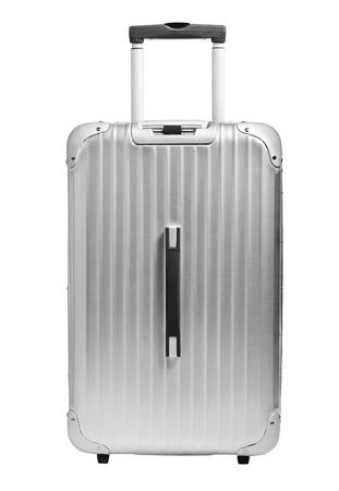 Argento valigia su isolato su bianco