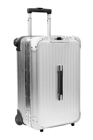 Silber Koffer auf isoliert auf wei�