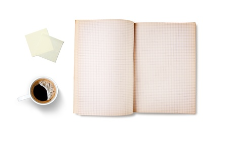 Workspace with coffee cup, note paper and notebook, isolated on white background photo