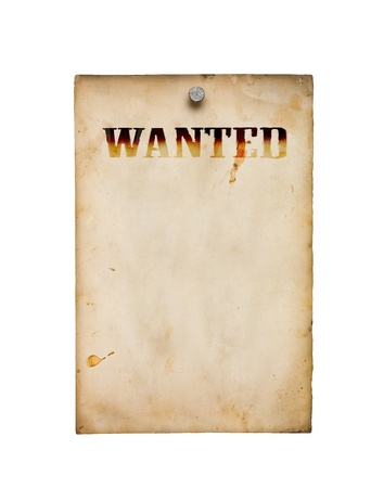 Wanted poster isolated on white photo