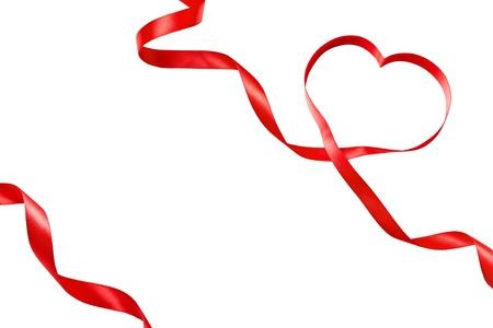 Heart shaped ribbon isolated on white Stock Photo