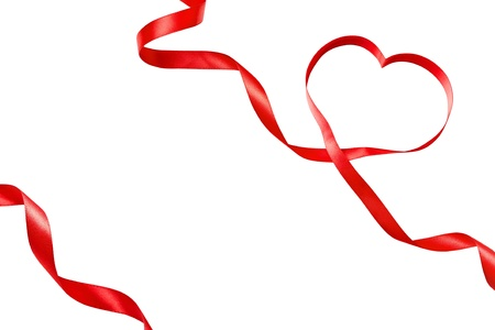 pink ribbons: Heart shaped ribbon isolated on white Stock Photo