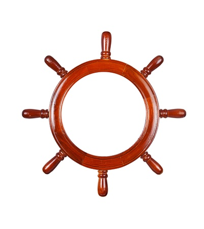 Ship steering wheel, isolated on white  photo