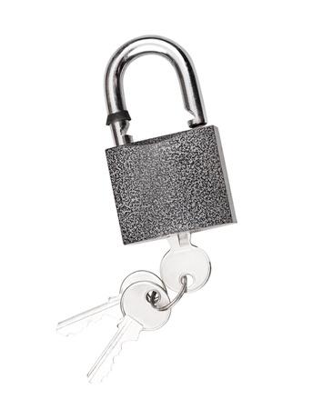 tarnish: Padlock with key isolated on white background