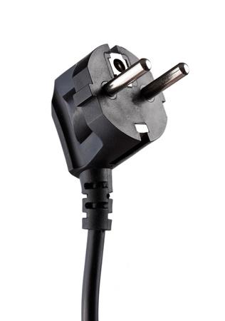 power plug: Black electric plug isolated on white background  Stock Photo
