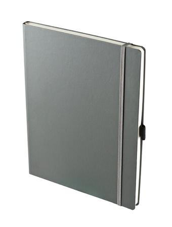Dark gray notebook isolated on white photo