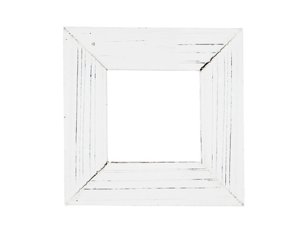 distressed wood: White painted picture frame, isolated on white Stock Photo
