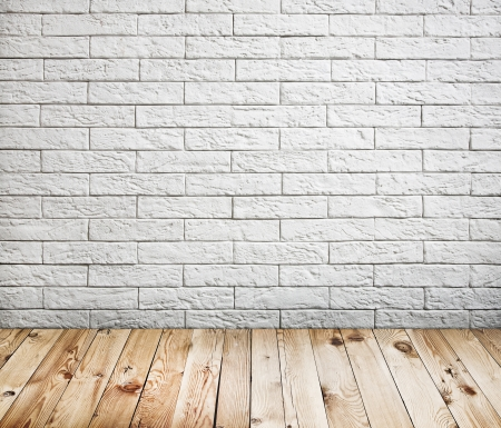 Room Interior With White Brick Wall And Wood Floor Background Stock Photo,  Picture And Royalty Free Image. Image 19056017.
