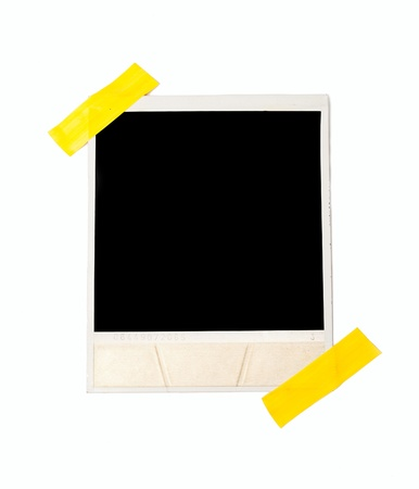 Taped polaroid style photo frame, isolated on white