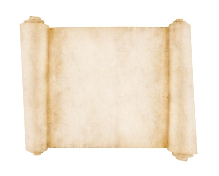 parchment scroll: Old scroll paper isolated on white