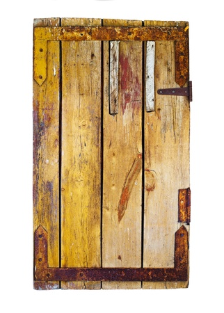 heads old building facade: Old wooden door isolated on white  Stock Photo