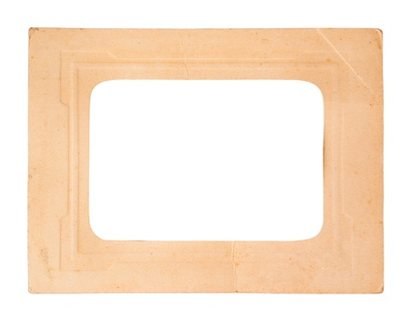 Old paper picture frame, isolated on white  photo
