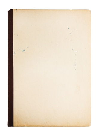 Old notepad isolated on white photo