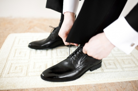 shoelace: Grooms shoes  Stock Photo