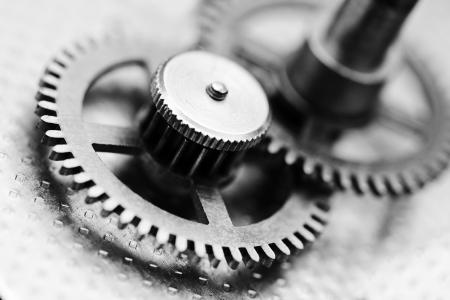 time machine: Clock mechanism, black and white photo