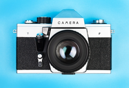photocamera: Vintage old film photo-camera Stock Photo