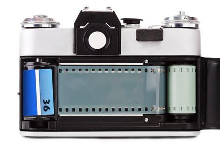 photocamera: Vintage old film photo-camera, isolated