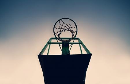 score under: Old basketball basket outdoor, vintage look