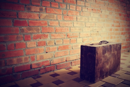 fare: Retro brown wooden suitcase Stock Photo