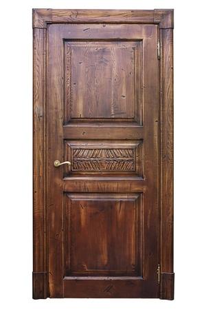wooden door: Vintage wooden door isolated on the white background