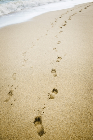 Human footprints on the beach sand photo
