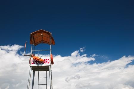 lifeguard tower: Lifeguard tower on a beach