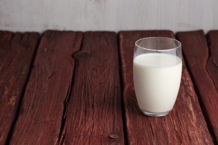 glass of milk: Glass of milk standing on old wooden table