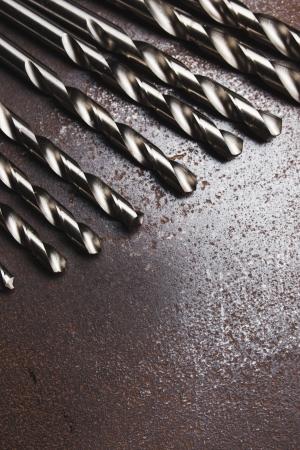 texture twisted:  Twist drill bits on old metal texture